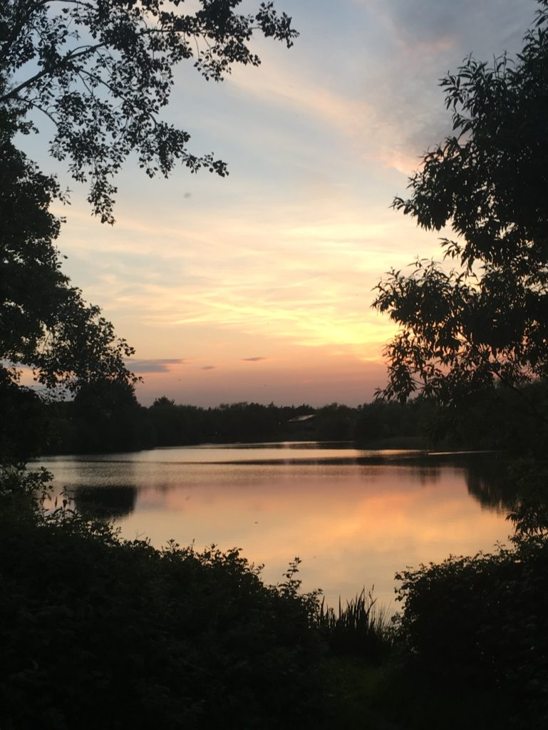 Sunset over the lake by Dawn Wheeler